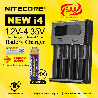 Nitecore I4 Digicharger + 4X Motoma 18650 2400mAh Rechargeable Lithium Battery