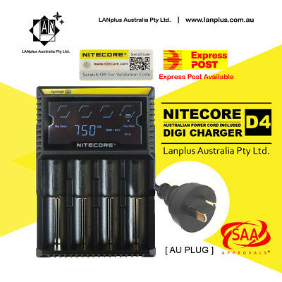 Nitecore D4 Digicharger LCD Smart Battery Charger lifepo4 18500 18350 14500 AAA