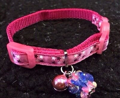 Kitten Collar Adjustable Pink Quick Release Safety Buckle Bell Jewel