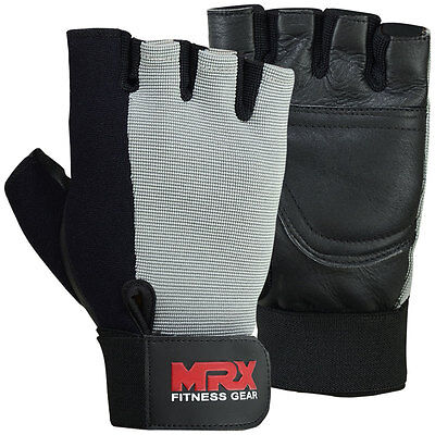 MRX Weight Lifting Training Gloves Gym Fitness Exercise Glove Leather Gray Black