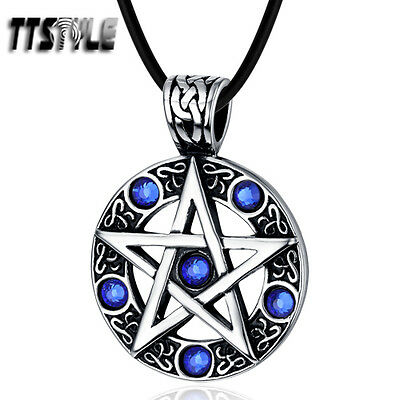 Quality TTstyle 316L Stainless Steel Pentacle Pentagram Round Pendant Blue Stone