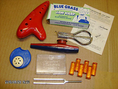 6 pc lot vintage wind instruments, tuner, pitch pipe, blue grass jaw harp