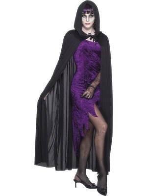 MANTELLO NERO Black Cape Halloween Carnevale Accessori Costumi 115 21311