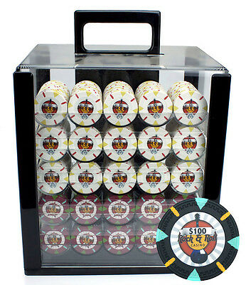 New 1000 Rock & Roll 13.5g Clay Poker Chips Set with Acrylic Case - Pick Chips!
