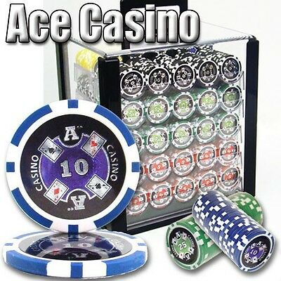New 1000 Ace Casino 14g Clay Poker Chips Set with Acrylic Case - Pick Chips!