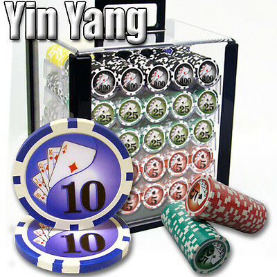 New 1000 Yin Yang 13.5g Clay Poker Chips Set with Acrylic Case - Pick Chips!