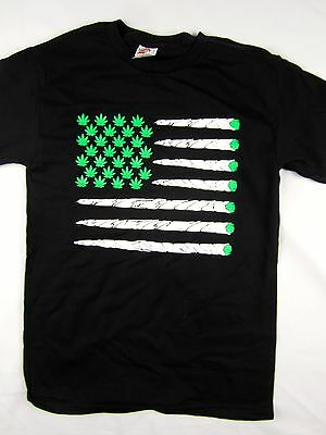 Marijuana Bud USA Flag 420 diamond life weed tee shirt men's black choose A size