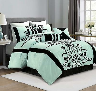 Micro Suede Black Brown White Patchwork 7-Piece Comforter Set, King