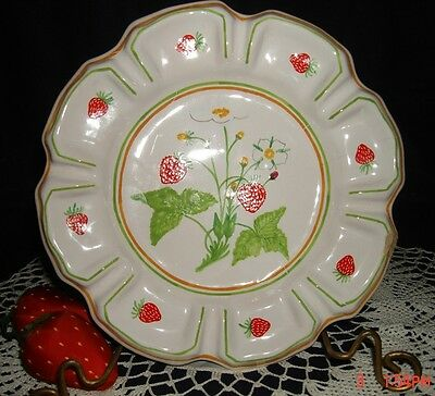 Strawberry Plate Hand Painted Philippines Pottery Scalloped