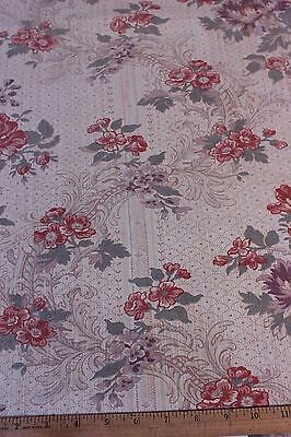 "French Vintage Antique Time Worn Faded Rose Linen Fabric c1930~28""LX32""W~HomeDec"