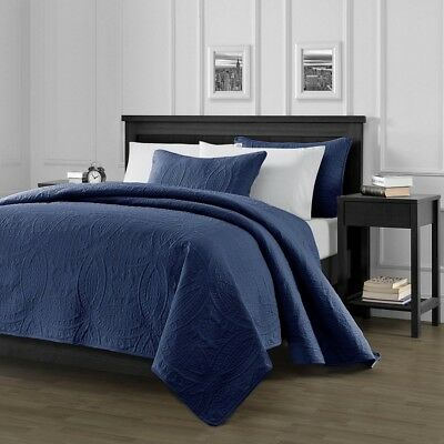 Pinsonic Quilted Austin Oversize Bedspread Coverlet 3-piece Queen Set, Navy Blue