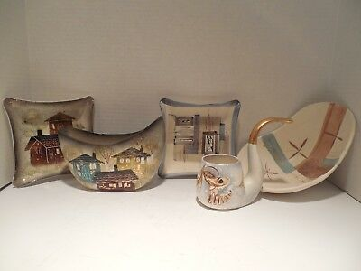 5 Piece Sascha Brastoff Collection Pipe Ashtray Vase Bowl Planter Signed Stamped