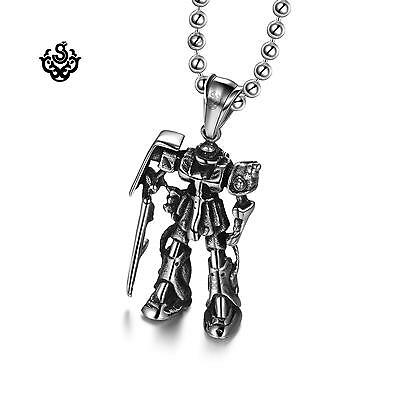 Silver Gundam pendant stainless steel necklace movie replica soft gothic