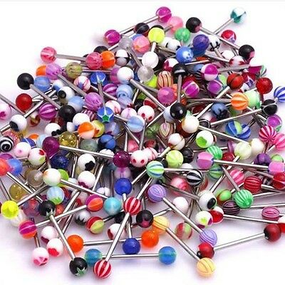 100Pcs Mixed Surgical Steel Tongue Bars Rings Barbell Body Piercing Jewellery