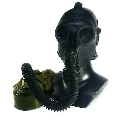 Soviet Russian CCCP Gas mask PDF-2SH Black rubber with hose for teenager. NOS