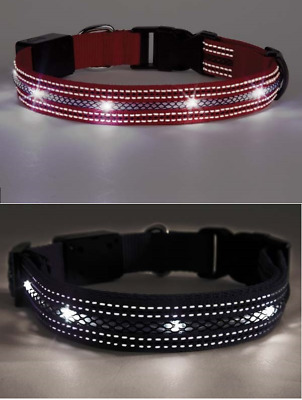 Dog Collar LED USB Rechargeable Red Black L XL - Glowing Night Safety Light Up
