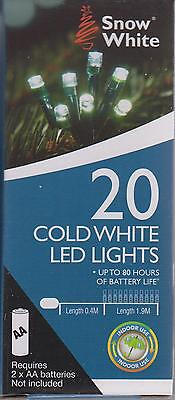 Snow White Battery Powered LED Christmas Fairy Lights 1.9M 20 Lights Cold White