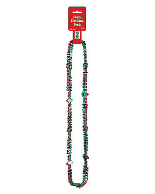 Morris Costumes New Merry Christmas Plastic Green Red Beaded Necklace. BG20158