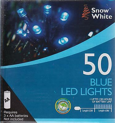 Snow White Battery Powered LED Christmas Fairy Lights 4.9M 50 Lights - Blue