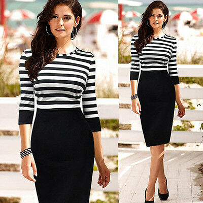 Fashion New Women Lady Slim Striped Bodycon Party Cocktail Clubwear Pencil Dress