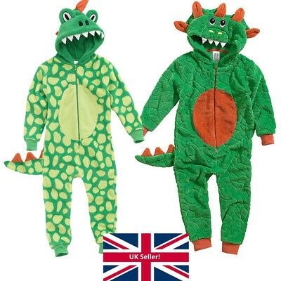 World Book Day Dinosaur 1Onesie Onezi Boys Fleece Hooded Character Jumpsuit