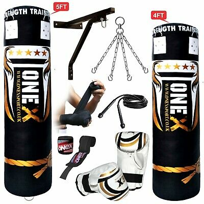 4ft/5ft Filled Heavy Punch Bag Custom Build Set,Chains,Bracket,Gloves,MMA