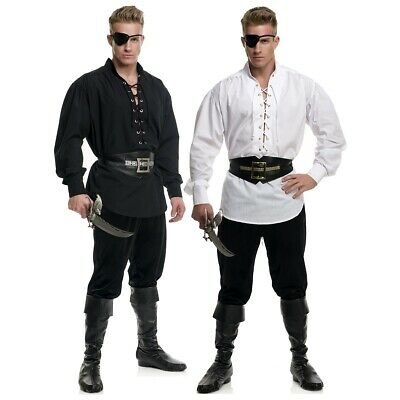 Eyelet Pirate Shirt Costume Halloween Fancy Dress
