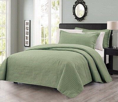 Chezmoi Collection Solid Sage Modern Quilted Coverlet 3-piece Set King