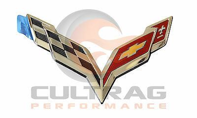 2014-2018 C7 Corvette Genuine GM Chrome Rear Bumper Emblem 23168615