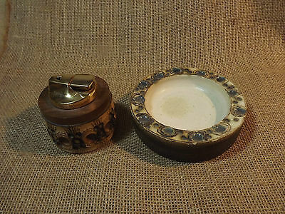Vintage Jersey Pottery Lighter Base And Ashtray Ronson I Think Not Tested