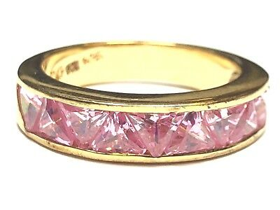 Fantastic Ladies Sterling Silver Ring - Lovely Row of Pink Gems! - Size 7.25
