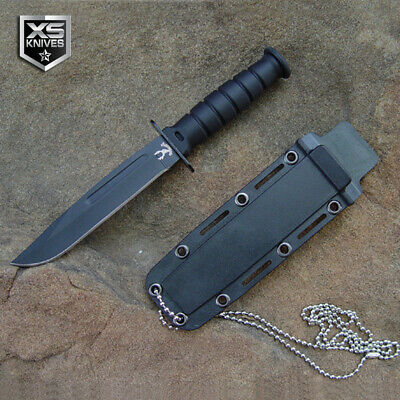 "6"" Tactical Black Fixed Blade Military Combat Hunting Survival Knife w/ Sheath"