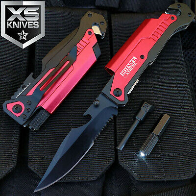 Red EDC Spring Assisted LED Multifunction Pocket Knife Survival MULTI TOOL