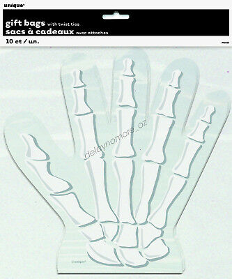 Halloween Spooky Scary Party 10 Skeleton Hand Cello Lolly Treat Favour Bags Skul
