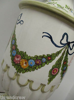 Rare Vtg Fredrick Cooper Mid Century Porcelain Electric Floral Table Lamp&shade