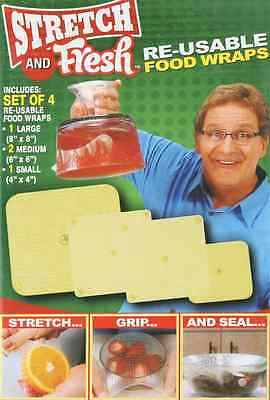 Free shipping Stretch and Fresh 4-Pack AS SEEN ON TV Silicon Food Wraps