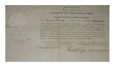 Levi Lincoln Jr. MA Governor Document Signed - Authentic!