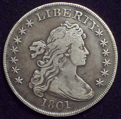 1801 BUST SILVER DOLLAR High VF+ Detailing Authentic BB-213 B-3 Rare R.3 Broke T