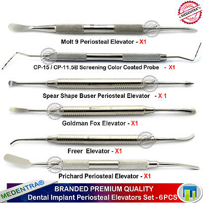 Implant Sinus Lift Periosteal Elevators Oral Periodontal Surgery Probe Kit 6PCS