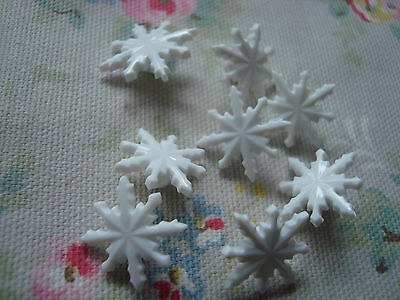 8 White Snowflake Realistic Plastic Buttons