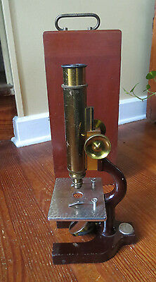 FINE ANTIQUE BAUSCH & LOMB BRASS MICROSCOPE with WOODEN CASE