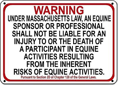 MASSACHUSETTS Equine Sign activity liability warning statute horse barn stable