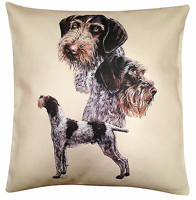 German Wirehair Pointer Group Cotton Cushion Cover - Cream or White - Gift Item