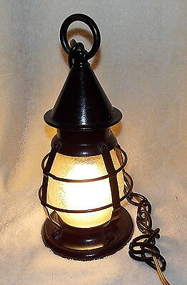 Antique Moe Bridges Cast Iron Caged Hanging Lamp Textured Glass Globe