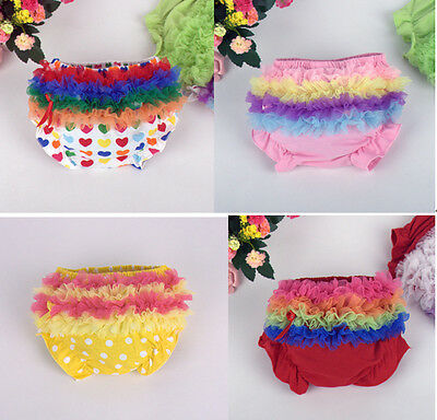 Baby Girls Frilly Cotton Knickers Pants born Wedding Christening Party bloomers