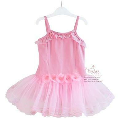 NWT Girls/Kids Tutu Dance Ballet Floral Sleeveless Dresses Leotards Pink 2-7T