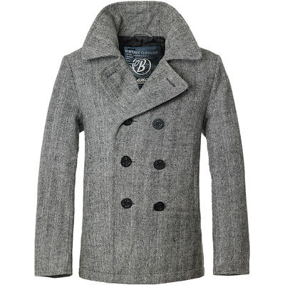 Brandit Classic Navy Pea Coat Mens Wool Reefer Jacket Anthracite Herringbone