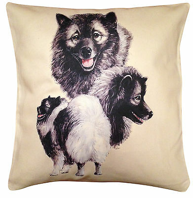 Keeshond Group Cotton Cushion Cover - Cream or White Cover - Perfect Gift