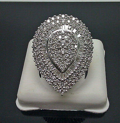 Antique Pear Shaped Ladies Ring 10K Yellow Gold 2.00CT Diamond, Round, Baguette
