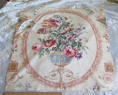 """Vintage Shabby Time Worn Floral & Vase Fabric c.1920~23""""LX24""""W~Pilllow,Frame"""